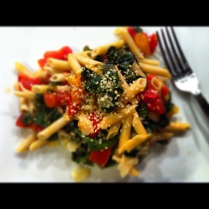 Gluten Free Pasta with Sauteed Tomatoes, Garlic, Swiss Chard and Hemp Seeds