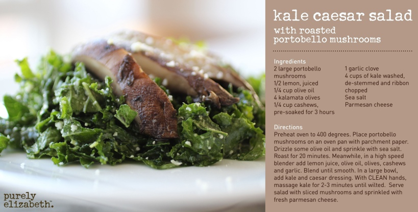 Kale Caesar Salad with Portobello Mushrooms
