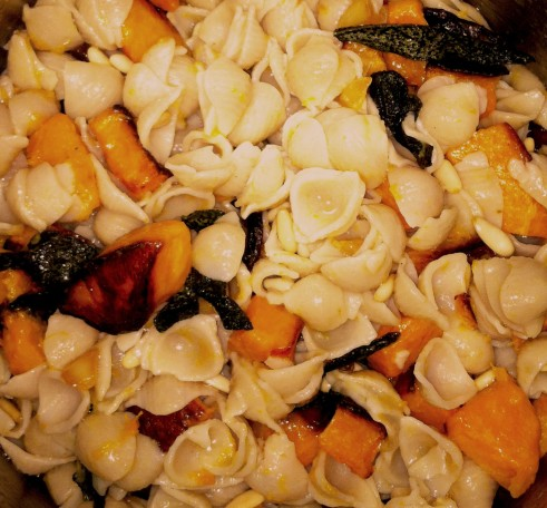Pasta Pan-Fried with Butternut Squash Sage and Pine Nuts