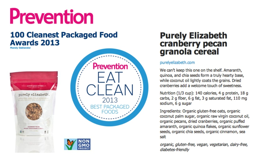 Prevention Magazine 100 Cleanest Packaged Foods 2013
