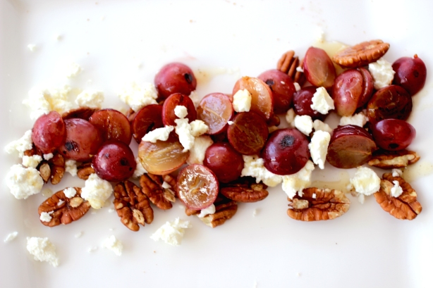 roasted grapes, pecans, goat cheese + truffle honey