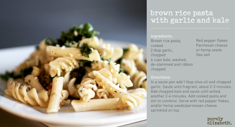 Brown Rice Pasta with Garlic and Kale
