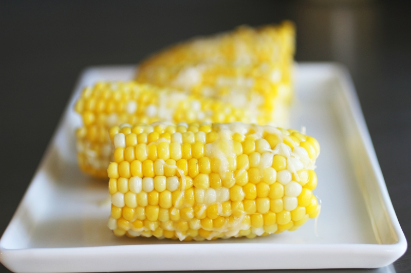 Corn on the Cob with Asiago and Truffle Oil