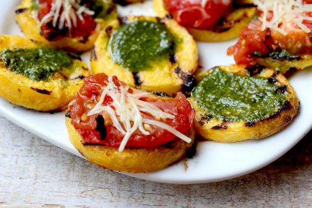 Grilled Polenta Bites with Pistachio Pesto + Tomatoes