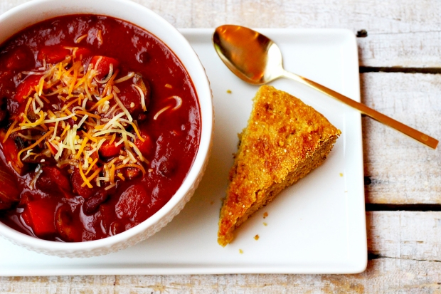 Chunky veggie chili loaded with goodness. Perfect to warm up by the fireside with.