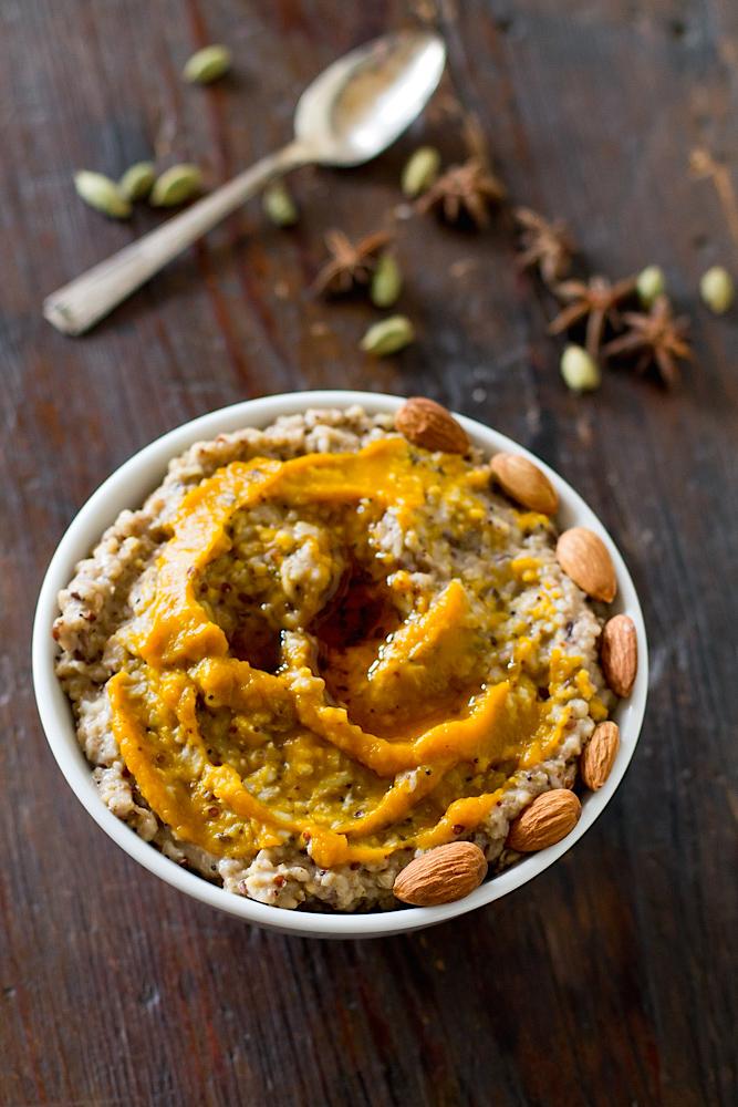 chai oatmeal with spiced kabocha swirl