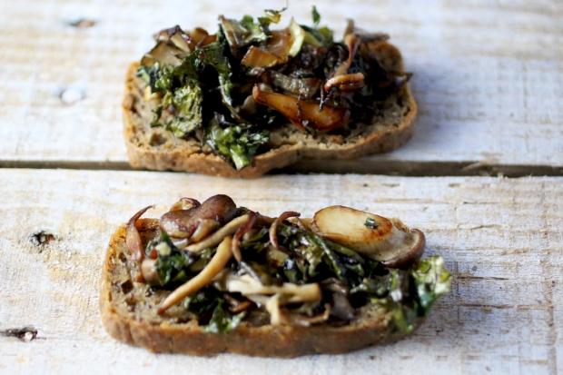 Wild Mushroom, Onion + Spinach Crostini