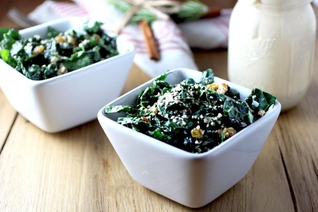 Kale Salad with Golden Raisins, Pistachios, Hemp Seeds + Tahini Dressing