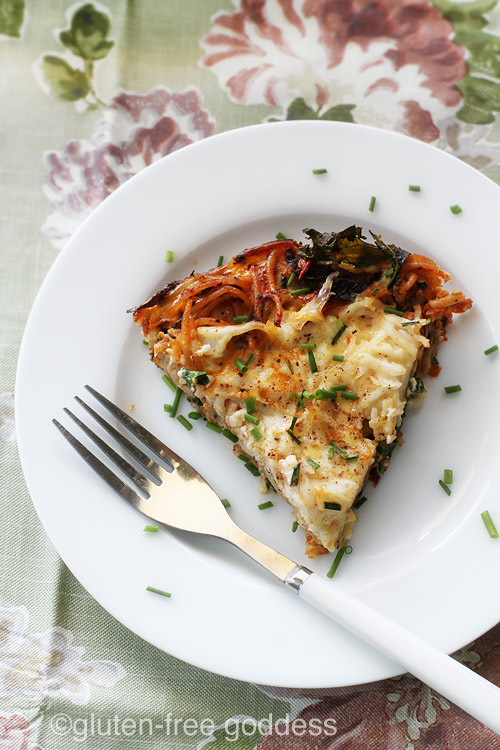 A slice of Gluten-Free Pasta Frittata with Kale (Dairy-Free)